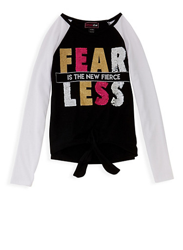 Girls 7-16 Fearless Reversible Sequin Graphic Top,BLACK,large