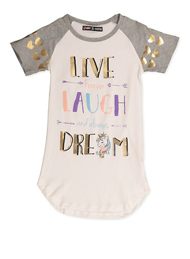 Girls 7-16 Live Forever Laugh and Always Dream Graphic Tee,HEATHER,large
