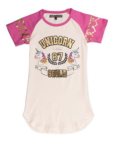 Girls 7-16 Unicorn Squad 87 Tee,WINE,large