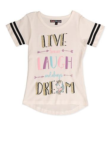 Girls 7-16 Live Laugh Dream Tee,BLACK/WHITE,large
