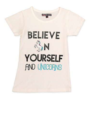 Girls 7-16 Believe in Yourself and Unicorns Tee,IVORY,large