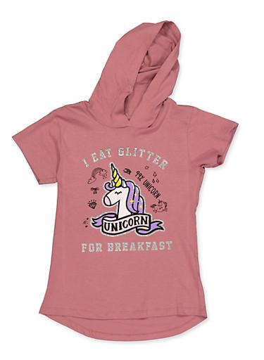 Girls 7-16 I Eat Glitter For Breakfast Hooded Top,MAUVE,large
