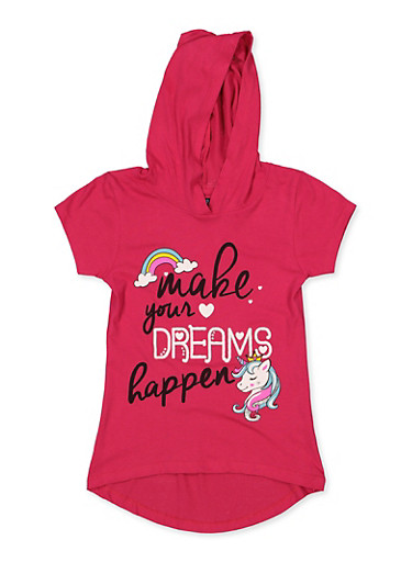 Girls 7-16 Make Your Dreams Happen Hooded Tee,FUCHSIA,large