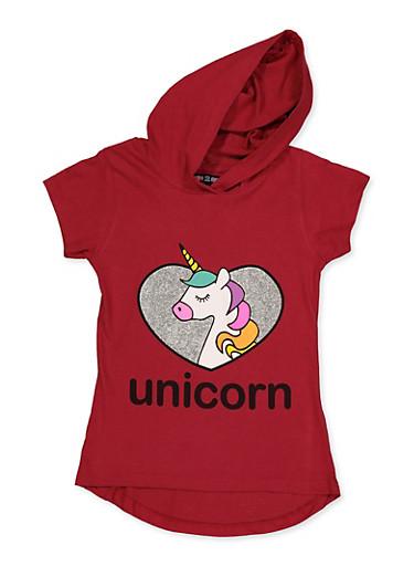 Girls 7-16 Glitter Heart Unicorn Hooded Top,WINE,large