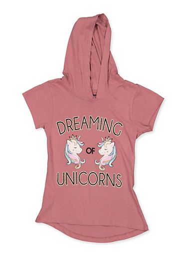 Girls 7-16 Dreaming of Unicorns Hooded Tee,MAUVE,large