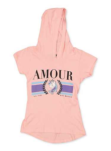 Girls 7-16 Amour Unicorn Hooded Top,BLUSH,large