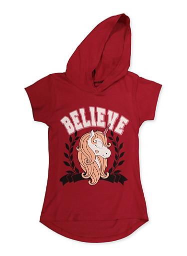 Girls 7-16 Believe Unicorn Graphic Top,WINE,large