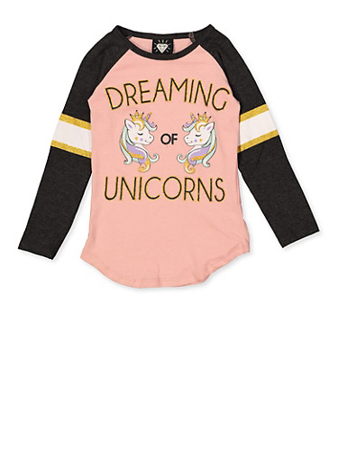 Girls 7-16 Dreaming of Unicorns Graphic Top,BLUSH,large