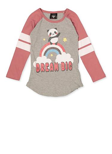 Girls 7-16 Dream Big Panda Graphic Top,HEATHER,large