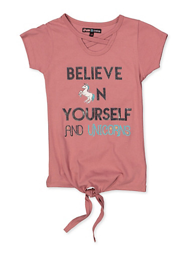 Girls 7-16 Glitter Believe In Yourself and Unicorns Tee,MAUVE,large