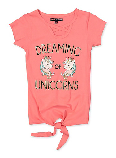 Girls 7-16 Dreaming of Unicorns Tee,CORAL,large