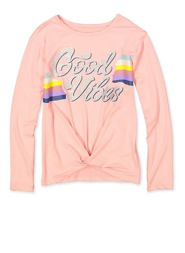 Girls 7-16 Good Vibes Twist Front Tee,BLUSH,large