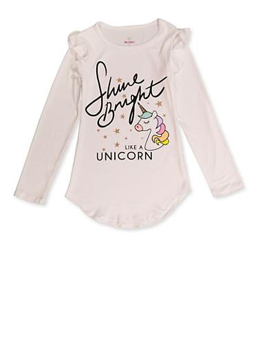 Girls 7-16 Shine Bright Like A Unicorn Tee,IVORY,large