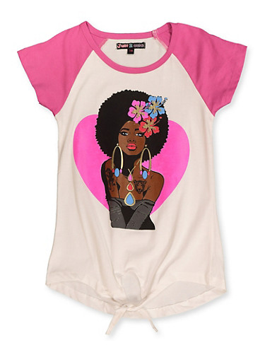 Girls 7-16 Afro Girl Tie Front Tee,IVORY,large