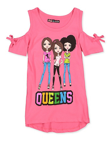 Girls 7-16 Queens Graphic Cold Shoulder Top,NEON PINK,large