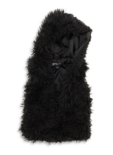 Girls 4-6x Hooded Faux Fur Vest,BLACK,large