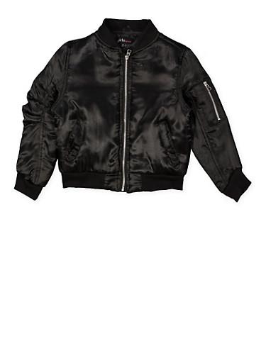 Girls 4-6x Satin Bomber Jacket,BLACK,large
