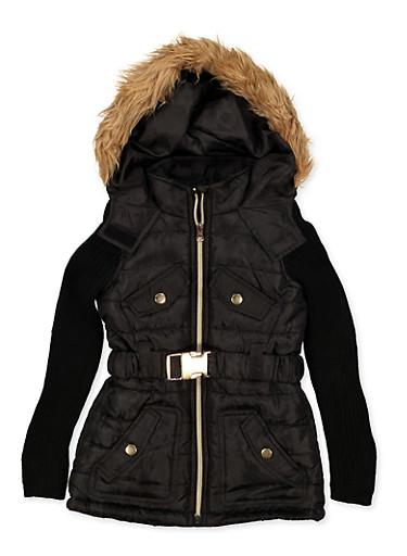 Girls 4-6x Ribbed Sleeve Puffer Jacket,BLACK,large