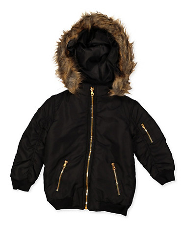 Girls 4-6x Ruched Sleeve Hooded Jacket,BLACK,large