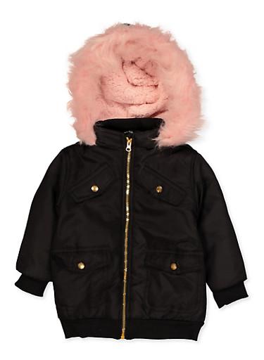 Girls 4-6x Faux Fur Hooded Puffer Jacket,BLACK,large