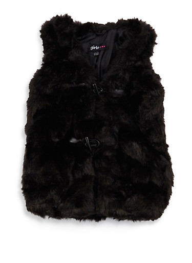 Girls 7-16 Faux Fur Toggle Vest | Tuggl
