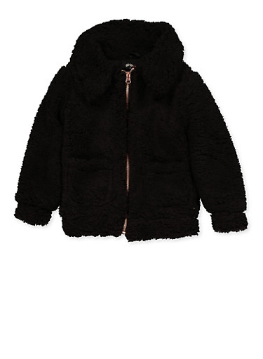 Girls 7-16 Sherpa Jacket,BLACK,large