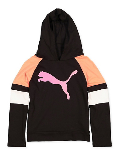 Girls 7-16 Puma Color Block Hooded Top,BLACK,large