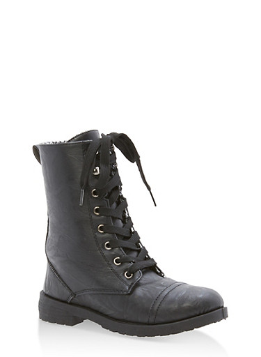 Girls 11-4 Faux Leather Combat Boots,BLACK,large