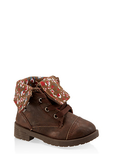 Girls 5-10 Floral Lined Combat Boots | Brown,BROWN,large