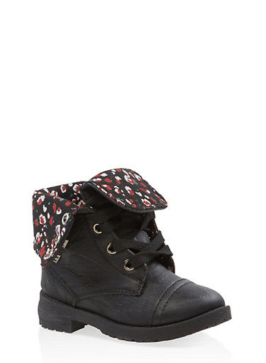 Girls 5-10 Floral Lined Combat Boots,BLACK,large