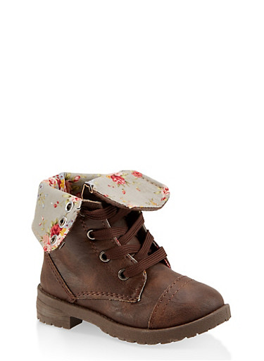 Girls 5-10 Floral Lined Combat Boots,BROWN,large