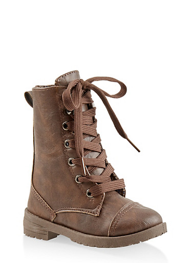 Girls 5-10 Plaid Lined Combat Boots,BROWN,large