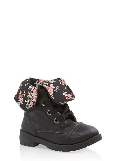 Girls 5-10 Floral Lined Combat Boots,BLACK,large