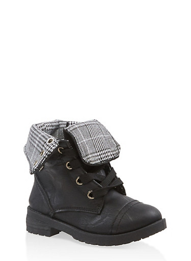 Girls 5-10 Plaid Lined Combat Boots,BLACK,large