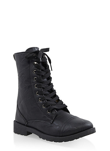 Girls 11-4 Floral Lined Combat Boots,BLACK,large