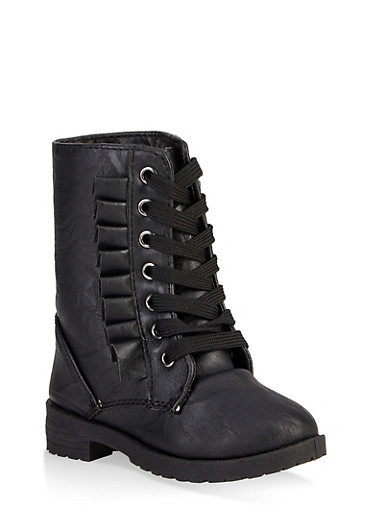 Girls 5-10 Ruffle Detail Combat Boots,BLACK,large