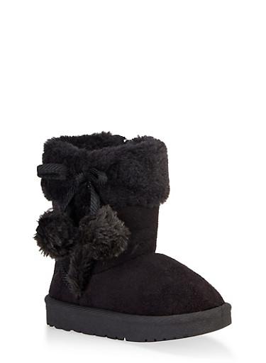 Girls 5-10 Faux Fur Pom Pom Boots,BLACK,large
