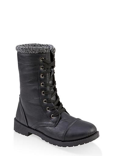 Girls 11-4 Knit Cuff Combat Boots,BLACK,large