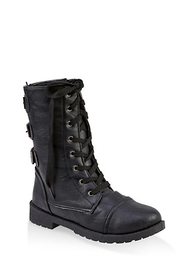 Girls 11-4 Buckle Back Combat Boots,BLACK,large