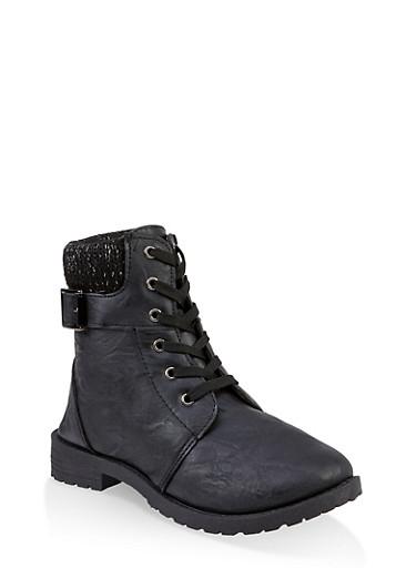 Girls 11-4 Lurex Knit Cuff Combat Boots,BLACK,large