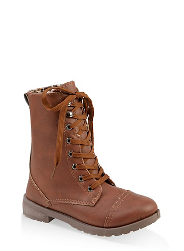 Girls 11-4 Leopard Lined Combat Boots,CAMEL,large