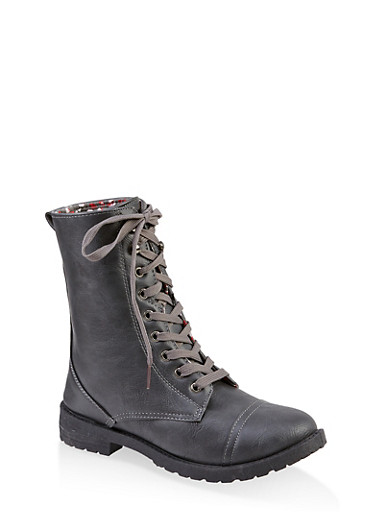 Girls 11-4 Lace Up Combat Boots,GRAY,large