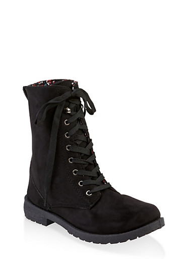 Girls 11-4 Floral Lined Faux Suede Combat Boots,BLACK,large