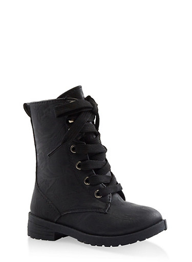 Girls 5-10 Flower Lined Combat Boots,BLACK,large
