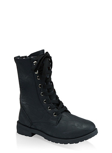 Girls 5-10 Printed Lining Combat Boots,BLACK,large