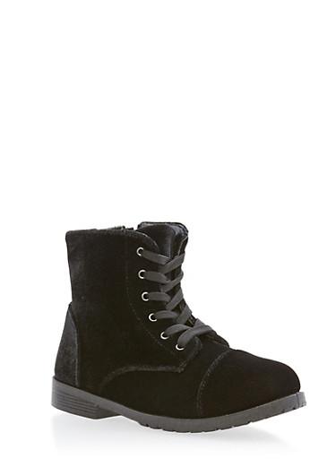 Girls 10-4 Velvet Combat Boots,BLACK,large
