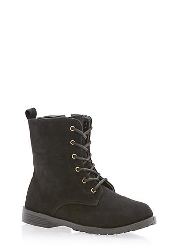 Girls 10-4 Faux Suede Combat Boots,BLACK,large