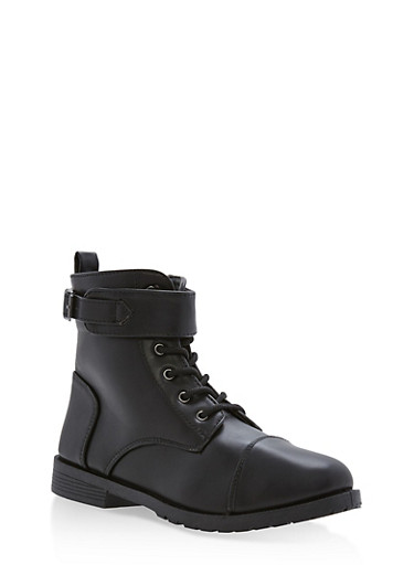 Girls 10-4 Faux Leather Combat Boots with Ankle Strap,BLACK,large