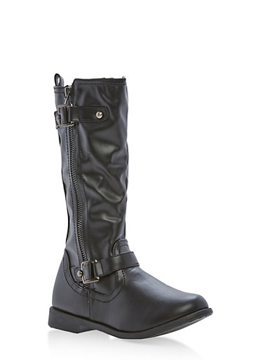 Girls 10-4 Faux Leather Buckle Boots,BLACK,large