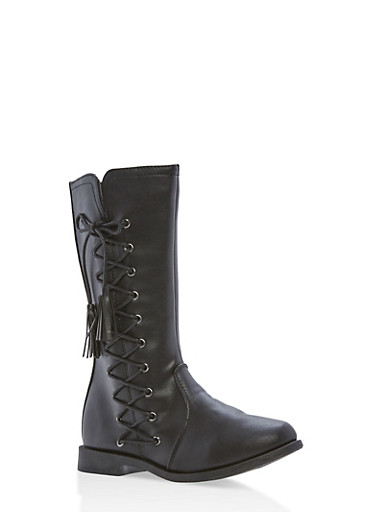 Girls 10-4 Faux Leather Lace Up Tassel Boots,BLACK,large